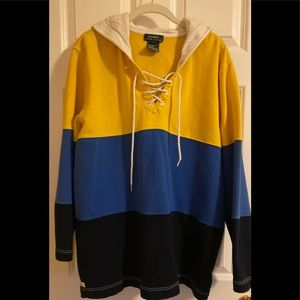 EUC Lauren colorblock hooded sweatshirt.